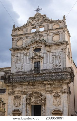 Frontage of Abbey Church of Saint Lucy at Cathedral Square on Ortygia isle Syracuse city Sicily Island in Italy