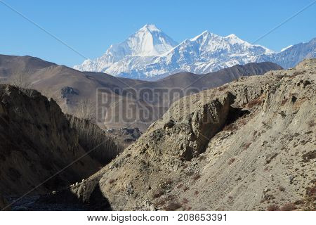 View of the Nilgiri Mountain through the Gorge near Muktinath