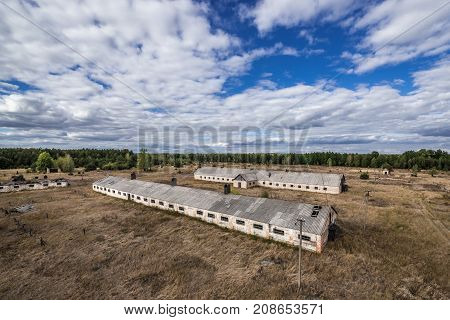 Aerial view on Soviet collective farm in abandoned Masheve settlement Chernobyl Exclusion Zone Ukraine