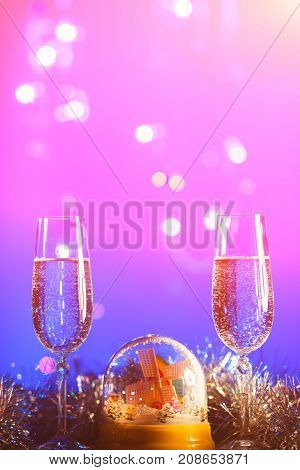 Happy New Year 2018 Background. Christmas And New Year's Glasses. Design Decoration. Glasses With Ch