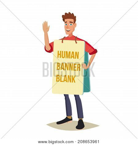 Human Billboard Vector. Man Holding Empty Board. Social Or Political Movement. Isolated Flat Cartoon Character Illustration