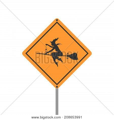 Warning yellow road sign on white background. Flying witch