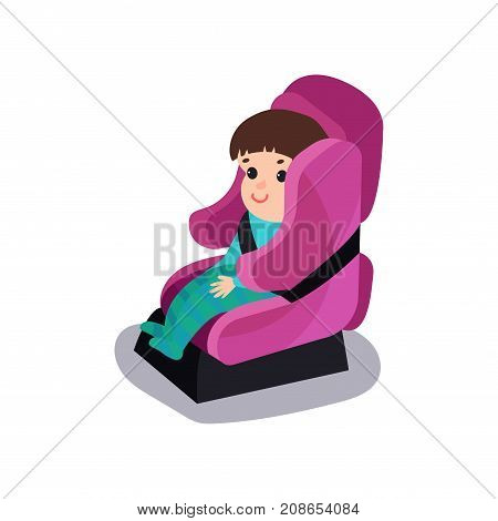 Cute baby sitting on a pink car seat wearing seat belt, safe child traveling cartoon vector illustration isolated on a white background
