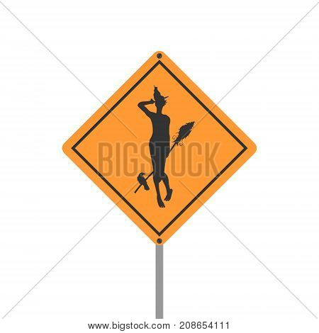 Warning yellow road sign on white background. Witch with broomstick, raven and cat