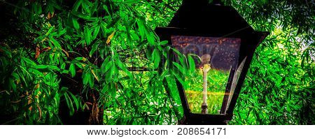 A gas lamp sits in the shade of trees at historic Occoquan Virginia.