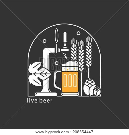 Beer tap, mug with beer, wheat, hops. Vector linear icons. Brewery.