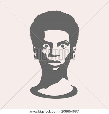 Confused woman. Face front view. Elegant silhouette of a female head. Vector Illustration. Monochrome gamma.