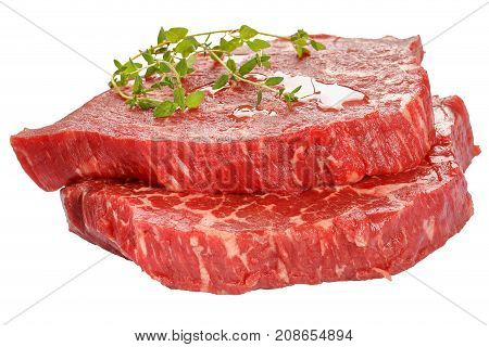 Two Marbled Beef Steaks Isolated On White