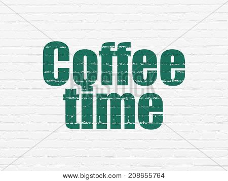 Time concept: Painted green text Coffee Time on White Brick wall background