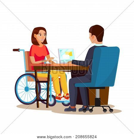 Disabled Woman Vector. Living With Disability. Smiling Disabled Female. Isolated On White Cartoon Character Illustration