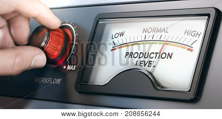 3D illustration of a production dashboard with hand turning a red knob. Concept of correlation between workflow and productivity. Composite image between a hand photography and a 3D background. poster