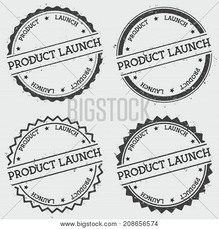 Product Launch Insignia Stamp Isolated On White Background. Grunge Round Hipster Seal With Text, Ink
