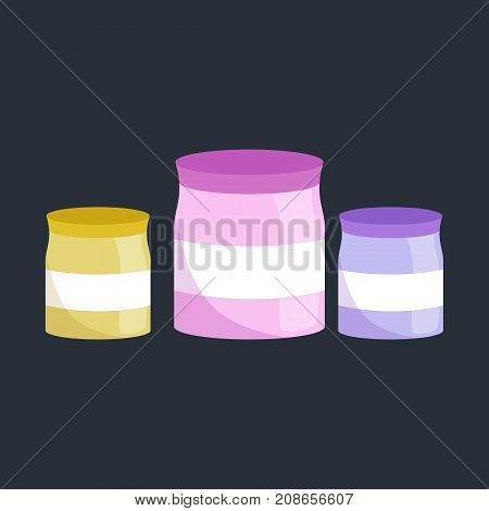 Food storage. Food ingredients in plastic jars isolated, sugar and salt container vector illustration.
