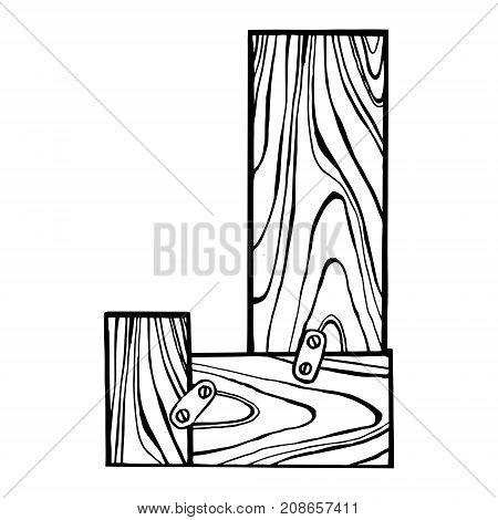 Wooden letter J engraving vector illustration. Font art. Scratch board style imitation. Hand drawn image.