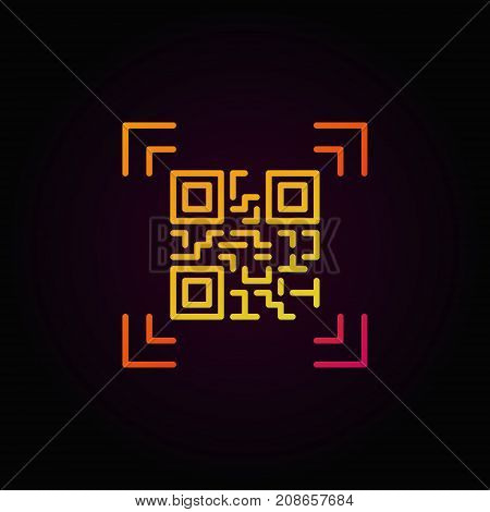 Qr code scanning colorful outline vector icon or logo element on dark background