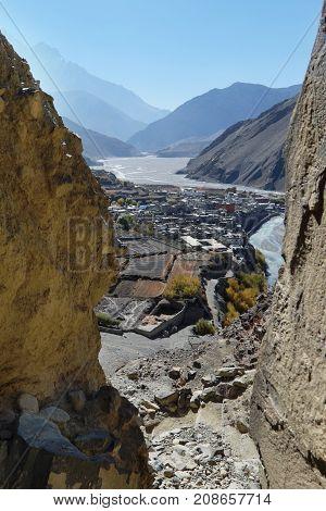 Nepal mountain town Kagbeni in a mountain valley in autumn a view through the gorge