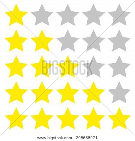 Five star rating. Different ranks from one to five stars. yellow flat and gray transparent stars. Vector, isolated, eps 10.