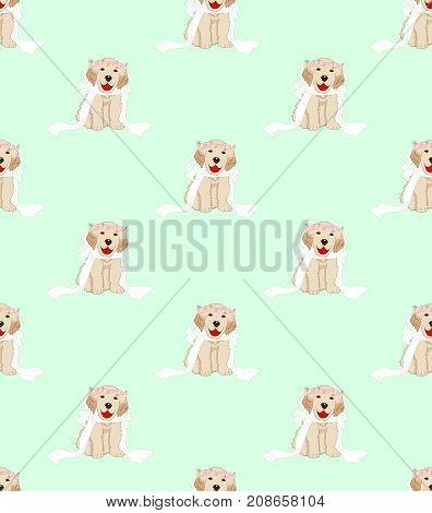Puppy Golden Retriever Dog Bride on Green Mint Background. Vector Illustration.