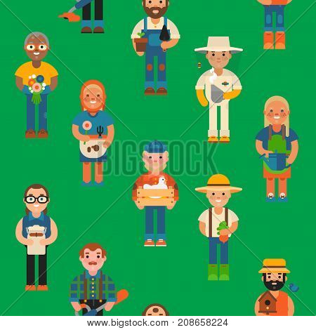 Funny farmer character isolated cartoon agriculture person and happy rancher profession rural farming gardener worker people vector illustration. Cute human seamless pattern background
