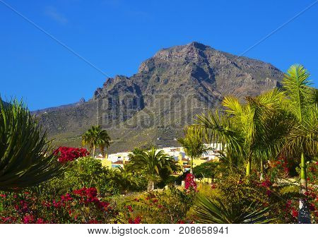 View of Roque del Conde mount (Table Mountain) in Torviscas Alto,Tenerife,Canary Islands,Spain.Vacation or travel concept.