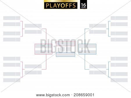 16 Team Single Elimination Bracket. Tournament Bracket for playoffs on white background. Size A2 ready for print. Vector Illustration. poster