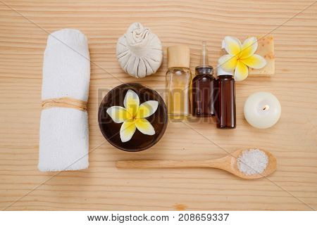 spa setting on light wooden background