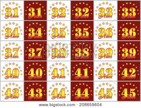 Set Of Gold Numbers From 31 To 45 And The Word Of The Year Decorated With A Circle Of Stars. Vector