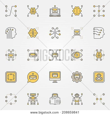Machine learning colorful icons set - vector data mining and AI creative symbols or design elements