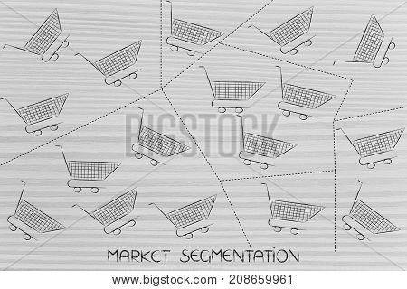 Empty Shopping Carts Divided Into Different Groups With Dashed Lines, Segmentation Concept