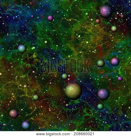 Abstract bright colorful universe, Rainbow colored nebula night starry sky with planets, Shiny multicolor outer space, Galactic texture background, Cosmic seamless illustration