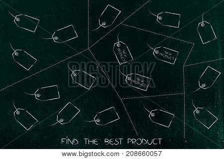 Group Of Price Tags Divided Into Groups By Dashed Lines And One Group With Text New Product