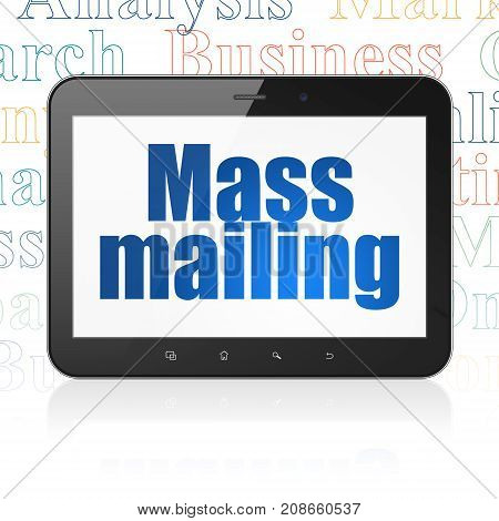 Marketing concept: Tablet Computer with  blue text Mass Mailing on display,  Tag Cloud background, 3D rendering