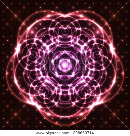 Bright shining and glaring abstract mandala. Beautiful decorative cosmic background. Abstract glowing pink flower. Vector EPS10 file.