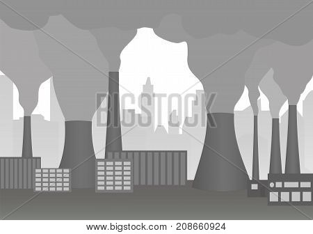 Smoking chimneys of plant. Industrial landscape. Vector illustration of environmental pollution. Clouds of smoke from factory chimney. Horizontal location.
