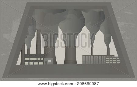 View from window at Smoking chimneys of plant. Industrial landscape. Vector illustration of environmental pollution. Clouds of smoke from factory chimney. Horizontal location.