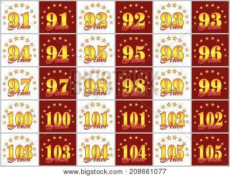 Set Of Gold Numbers From 91 To 105 And The Word Of The Year Decorated With A Circle Of Stars. Vector