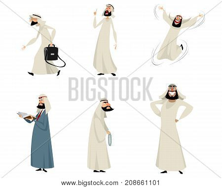 Vector illustration of set of six arab men