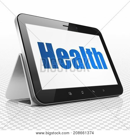 Medicine concept: Tablet Computer with blue text Health on display, 3D rendering