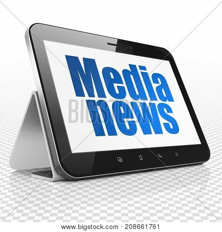 News concept: Tablet Computer with blue text Media News on display, 3D rendering