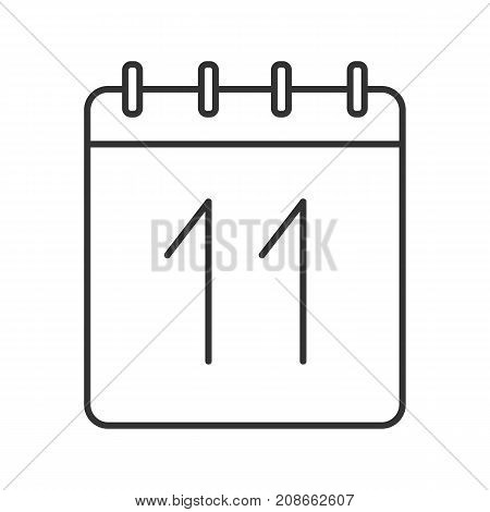 Eleventh day of month linear icon. Wall calendar with 11 sign. Thin line illustration. Date contour symbol. Vector isolated outline drawing