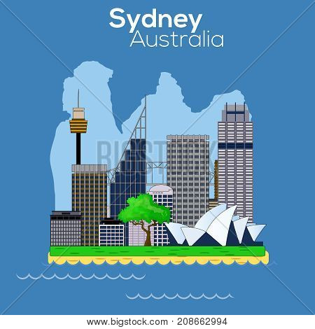 Sydney City carton style skyline with Opera harbour bridge and Sky Tower