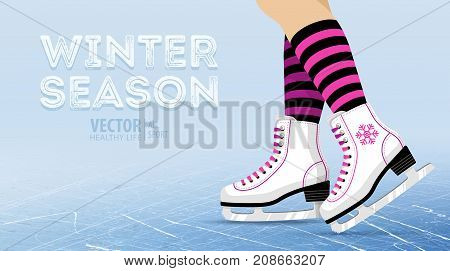 Pair of white Ice skates. Figure skating. Women's ice skates. Texture of ice surface. Winter sports. Vector illustration background. Banner