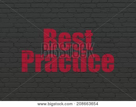 Education concept: Painted red text Best Practice on Black Brick wall background