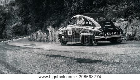 GOLA DEL FURLO, ITALY - MAY 19: SAAB 93 1956 on an old racing car in rally Mille Miglia 2017 the famous italian historical race (1927-1957) on May 19 2017