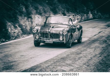 GOLA DEL FURLO, ITALY - FIAT 1100/103 TV TRASFORMABILE 1955 on an old racing car in rally Mille Miglia 2017 the famous italian historical race (1927-1957) on May 19 2017