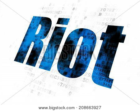 Political concept: Pixelated blue text Riot on Digital background