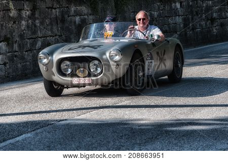 GOLA DEL FURLO, ITALY - MAY 19:MARINO (BRANDOLI) FIAT 1100 SPIDER 1955 on an old racing car in rally Mille Miglia 2017 the famous italian historical race (1927-1957) on May 19 2017