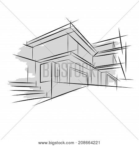 Architecture. Sketch. Drawing of building.City architect,  business,  plan,