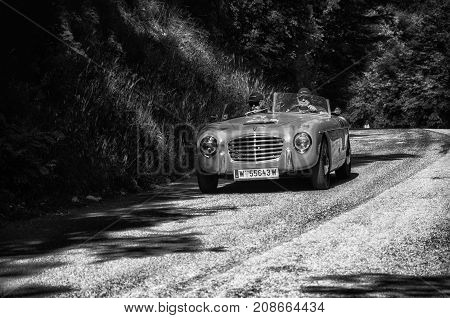 GOLA DEL FURLO, ITALY - MAY 19: S.I.A.T.A. DAINA GS STABILIMENTI FARINA 1953 on an old racing car in rally Mille Miglia 2017 the famous italian historical race (1927-1957) on May 19 2017