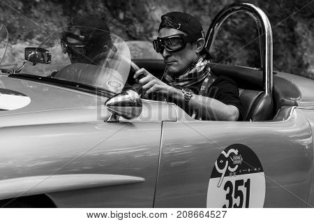 GOLA DEL FURLO, ITALY - MAY 19: MERCEDES-BENZ 190 SL 1955 on an old racing car in rally Mille Miglia 2017 the famous italian historical race (1927-1957) on May 19 2017